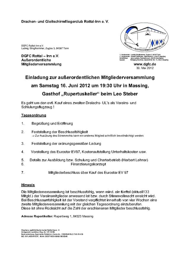 dgfc rottal-inn e.v.: einladung zur außerordentlichen, Einladung